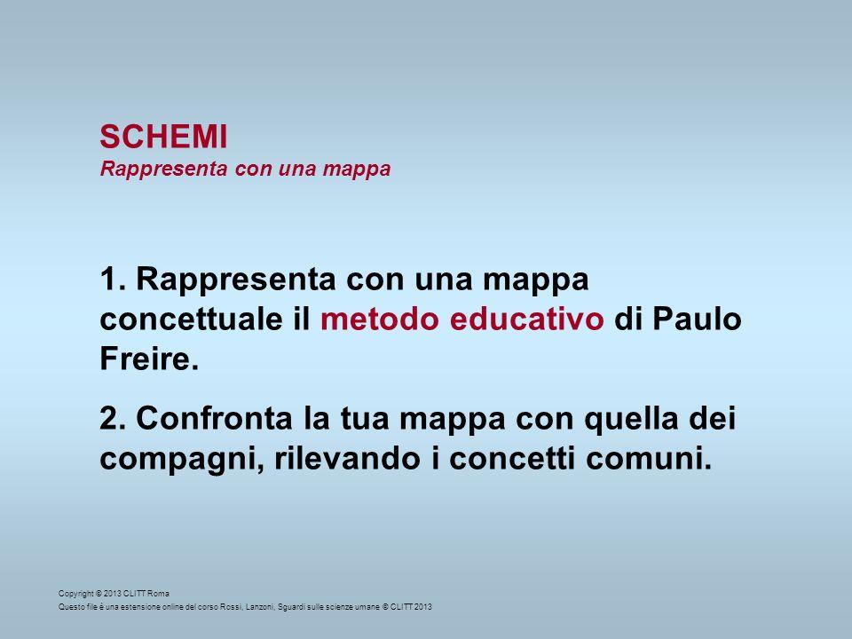 SCHEMIRappresenta con una mappa. 1. Rappresenta con una mappa concettuale il metodo educativo di Paulo Freire.