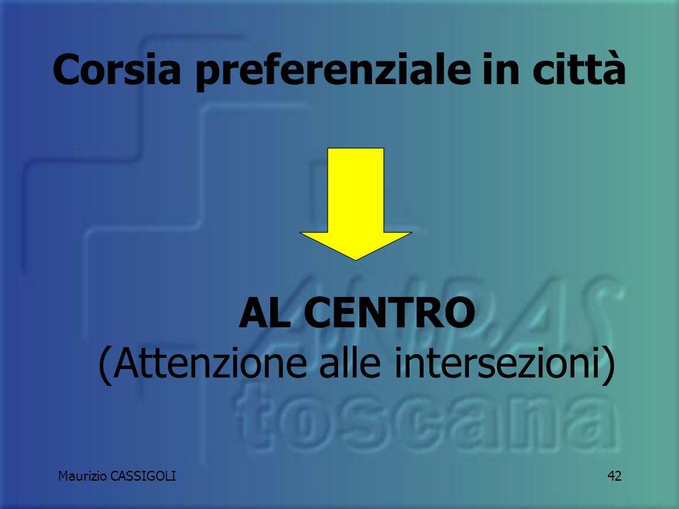 AL CENTRO (Attenzione alle intersezioni)