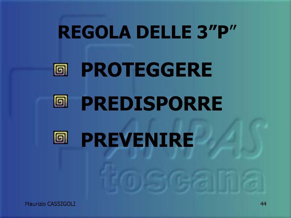REGOLA DELLE 3 P PROTEGGERE PREDISPORRE PREVENIRE Maurizio CASSIGOLI