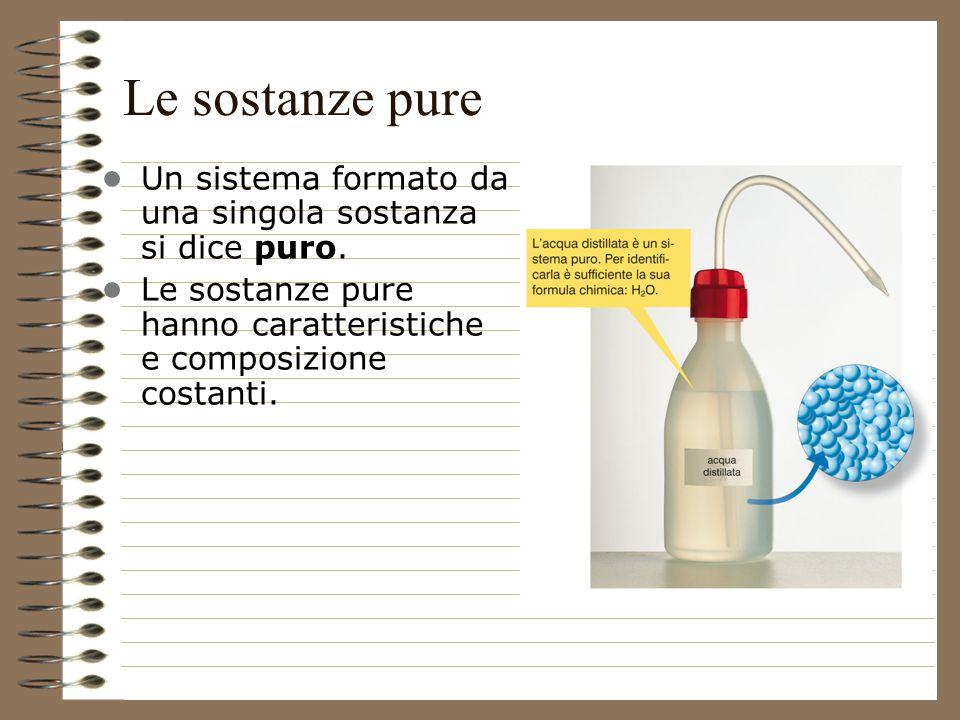 29/03/2017 Le sostanze pure. • Un sistema formato da una singola sostanza si dice puro.
