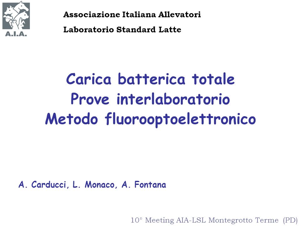 Carica batterica totale Prove interlaboratorio