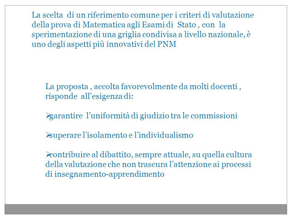 La scelta di un riferimento comune per i criteri di valutazione della prova di Matematica agli Esami di Stato , con la sperimentazione di una griglia condivisa a livello nazionale, è uno degli aspetti più innovativi del PNM
