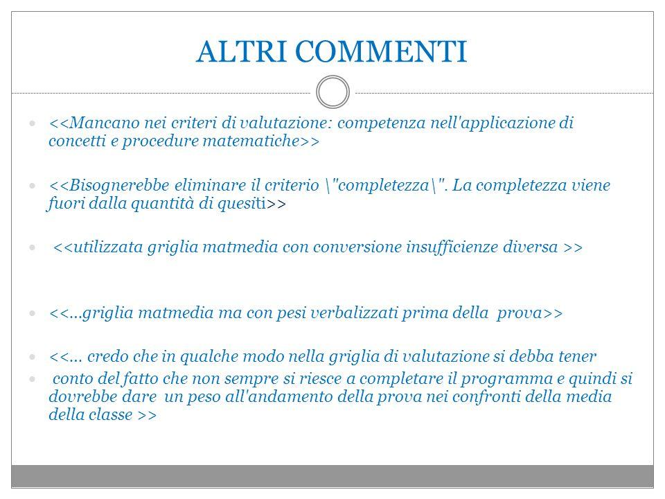 ALTRI COMMENTI <<Mancano nei criteri di valutazione: competenza nell applicazione di concetti e procedure matematiche>>
