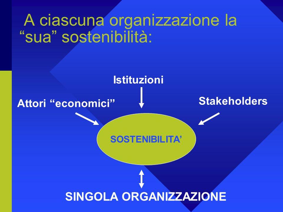 A ciascuna organizzazione la sua sostenibilità: