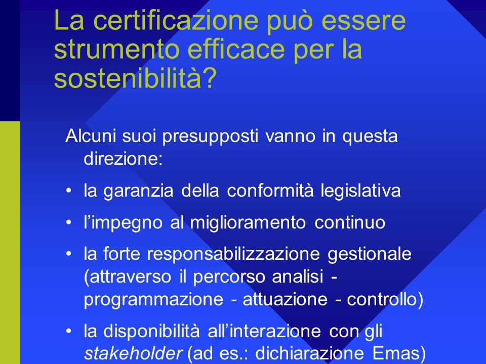 La certificazione può essere strumento efficace per la sostenibilità