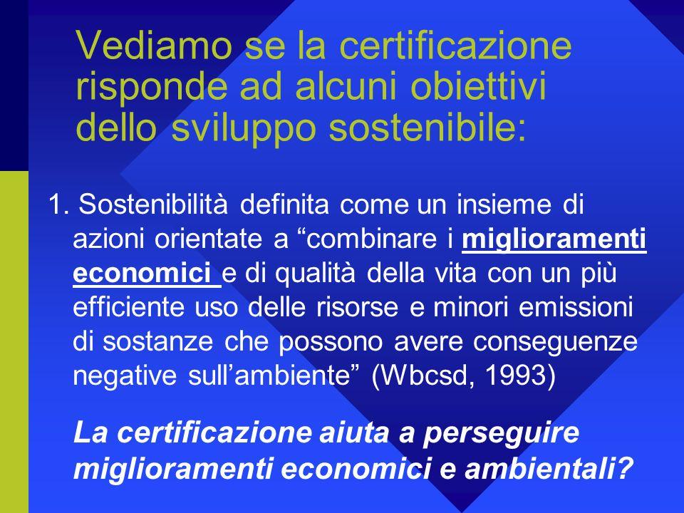 Vediamo se la certificazione risponde ad alcuni obiettivi dello sviluppo sostenibile: