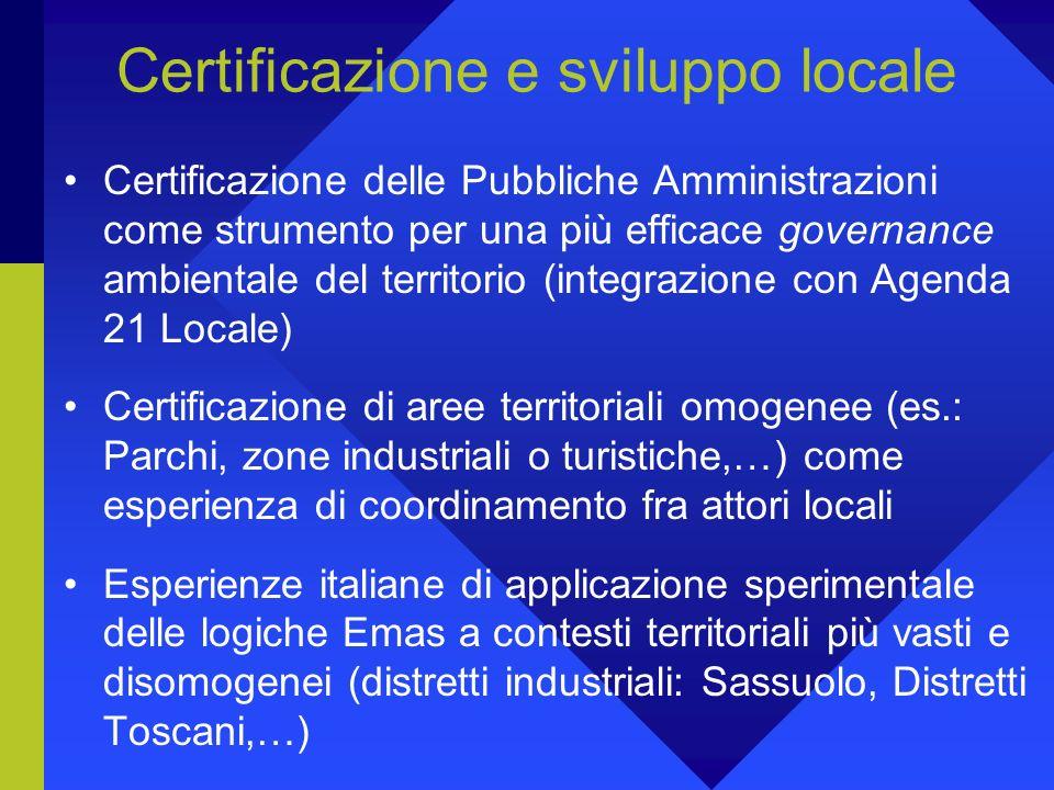 Certificazione e sviluppo locale