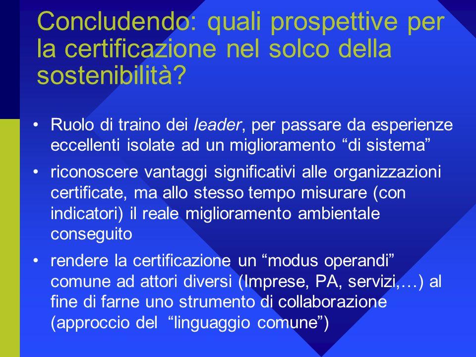 Concludendo: quali prospettive per la certificazione nel solco della sostenibilità