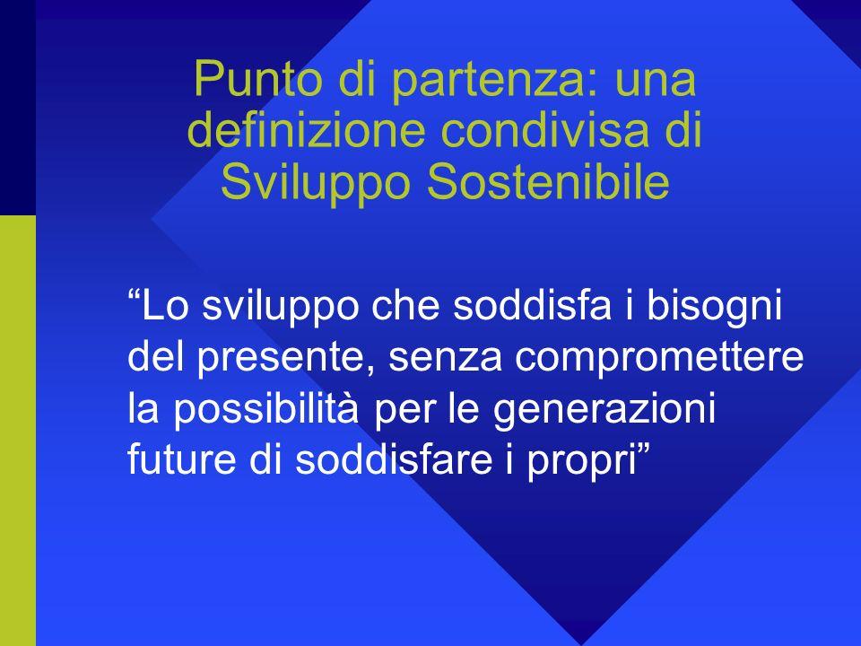 Punto di partenza: una definizione condivisa di Sviluppo Sostenibile