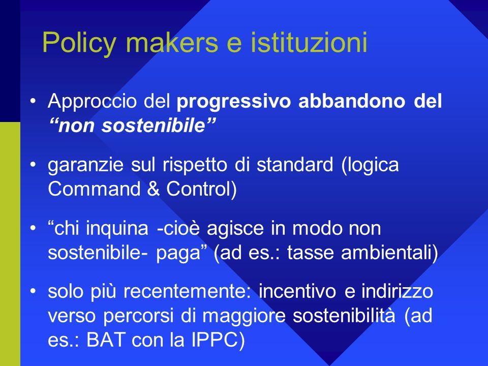 Policy makers e istituzioni