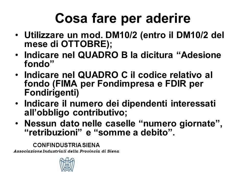 Cosa fare per aderire Utilizzare un mod. DM10/2 (entro il DM10/2 del mese di OTTOBRE); Indicare nel QUADRO B la dicitura Adesione fondo