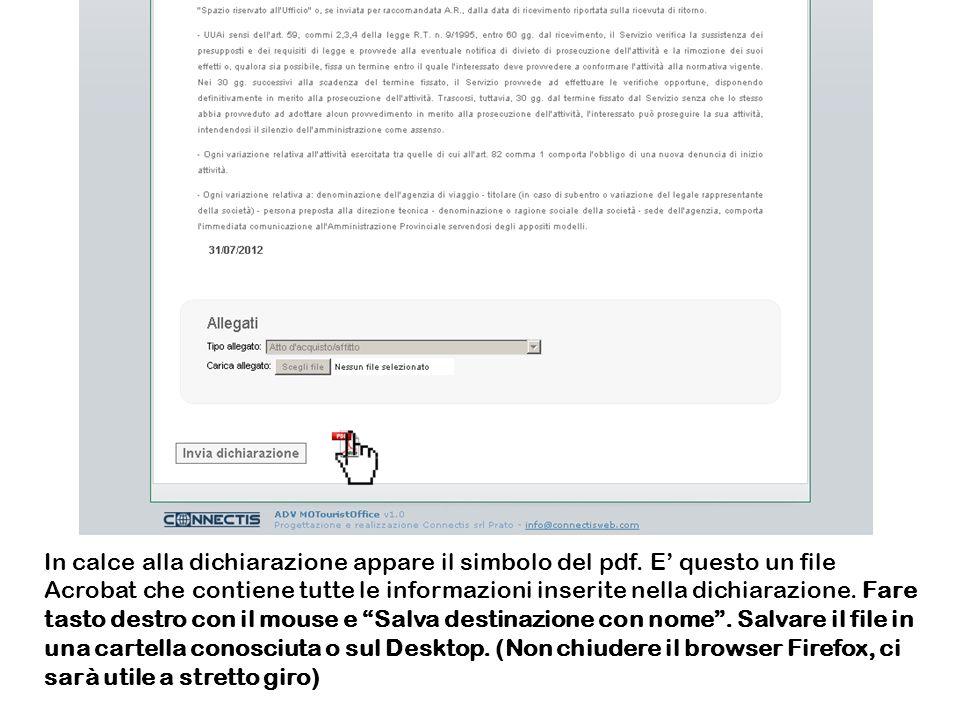 In calce alla dichiarazione appare il simbolo del pdf