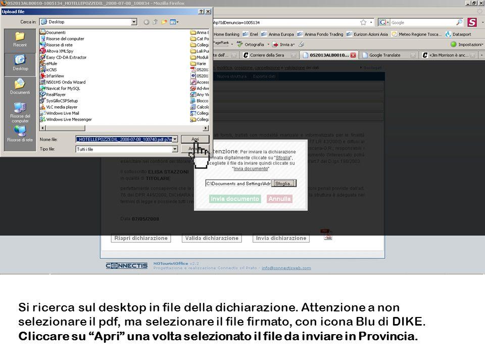 Si ricerca sul desktop in file della dichiarazione