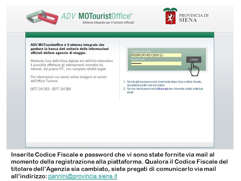 Inserite Codice Fiscale e password che vi sono state fornite via mail al momento della registrazione alla piattaforma.