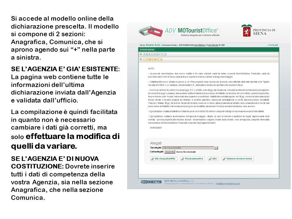 Si accede al modello online della dichiarazione prescelta