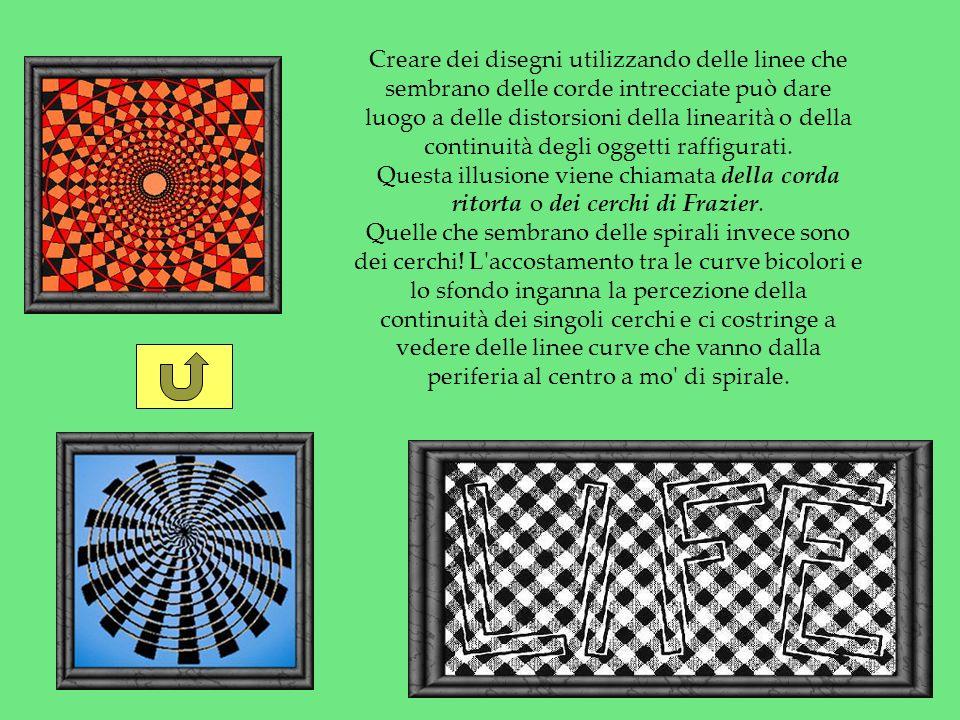 Creare dei disegni utilizzando delle linee che sembrano delle corde intrecciate può dare luogo a delle distorsioni della linearità o della continuità degli oggetti raffigurati.