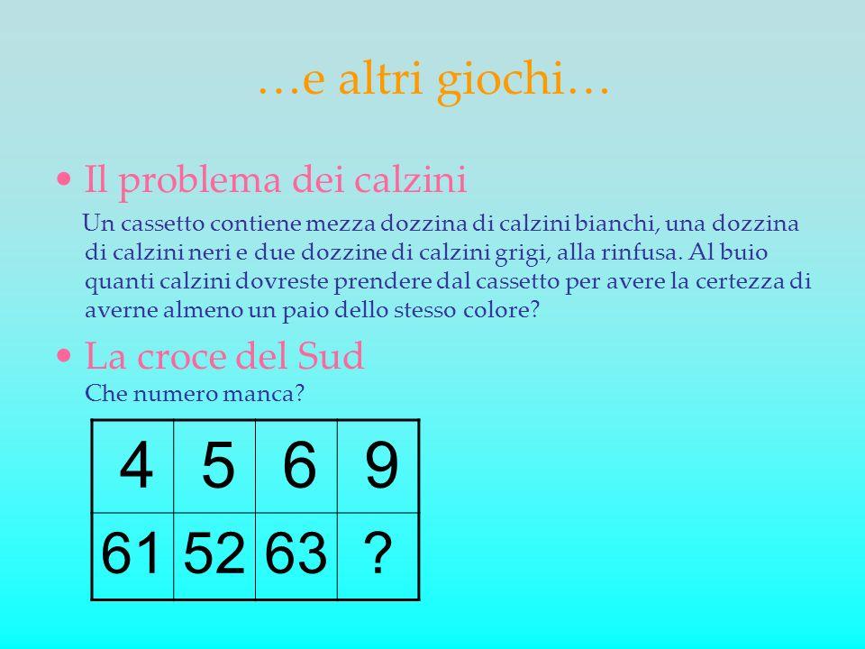 5 6 9 61 52 63 …e altri giochi… Il problema dei calzini