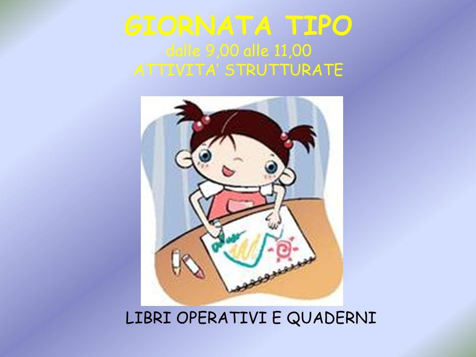 GIORNATA TIPO dalle 9,00 alle 11,00 ATTIVITA' STRUTTURATE