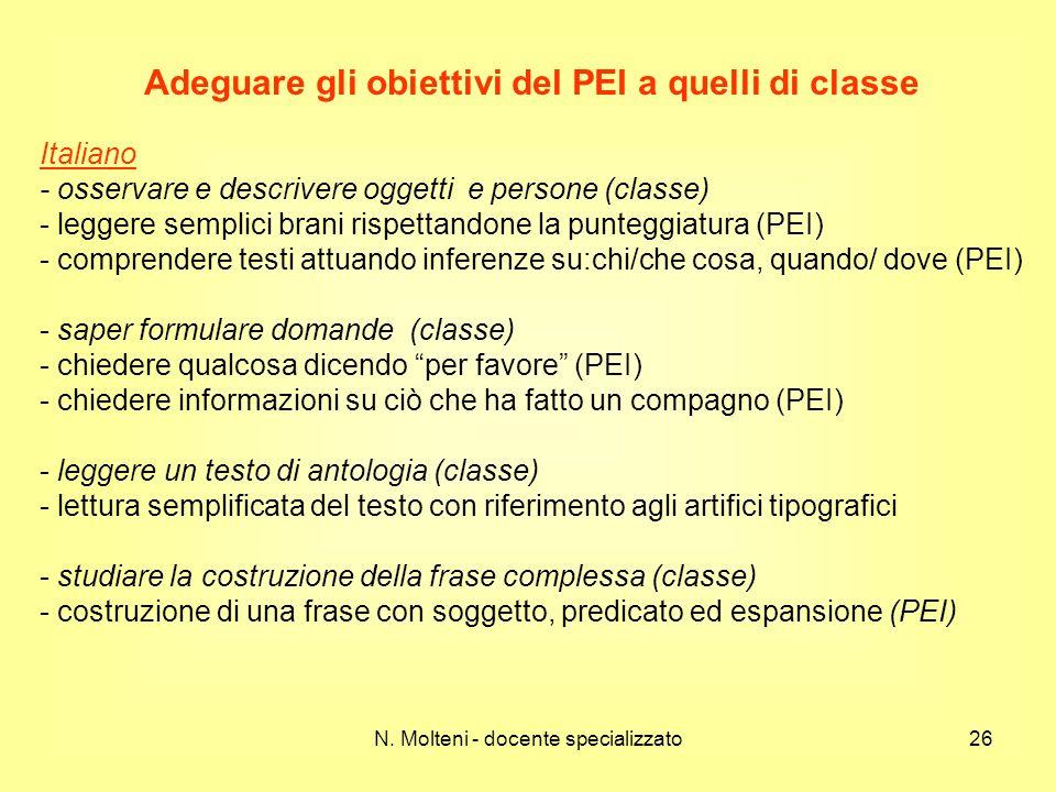 Adeguare gli obiettivi del PEI a quelli di classe