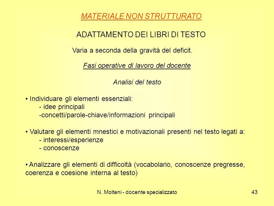MATERIALE NON STRUTTURATO ADATTAMENTO DEI LIBRI DI TESTO