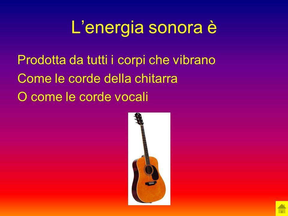 L'energia sonora è Prodotta da tutti i corpi che vibrano