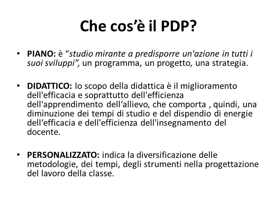 Che cos'è il PDP PIANO: è studio mirante a predisporre un azione in tutti i suoi sviluppi , un programma, un progetto, una strategia.