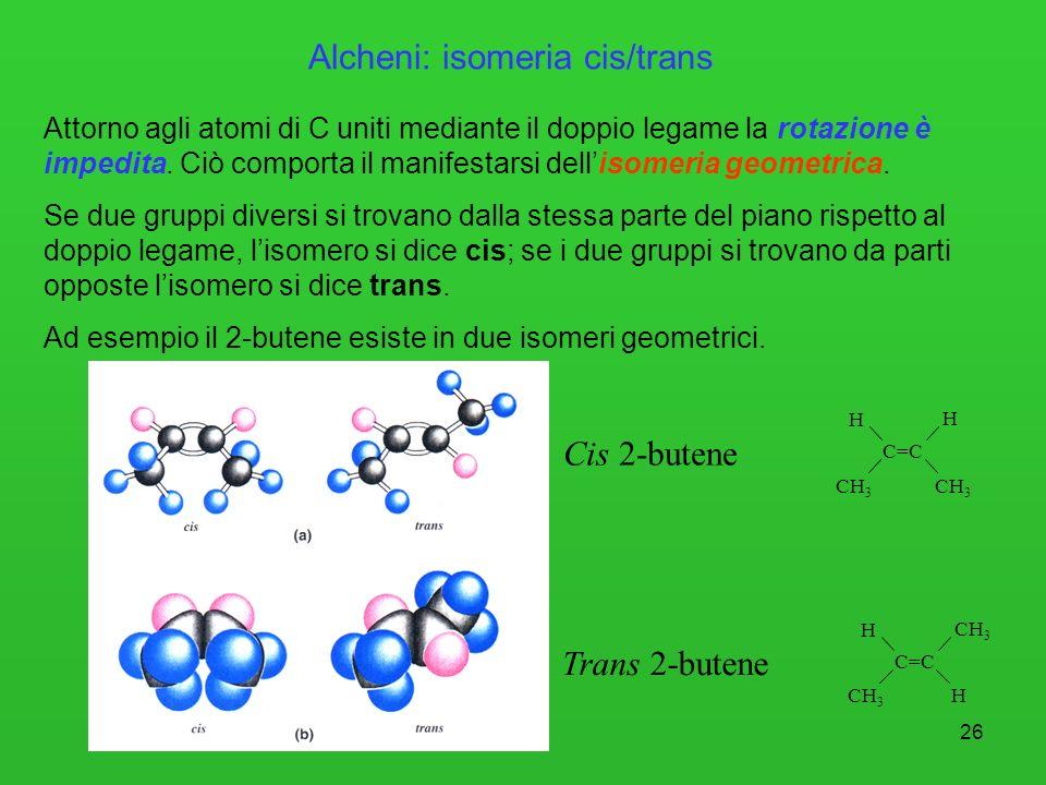 Alcheni: isomeria cis/trans