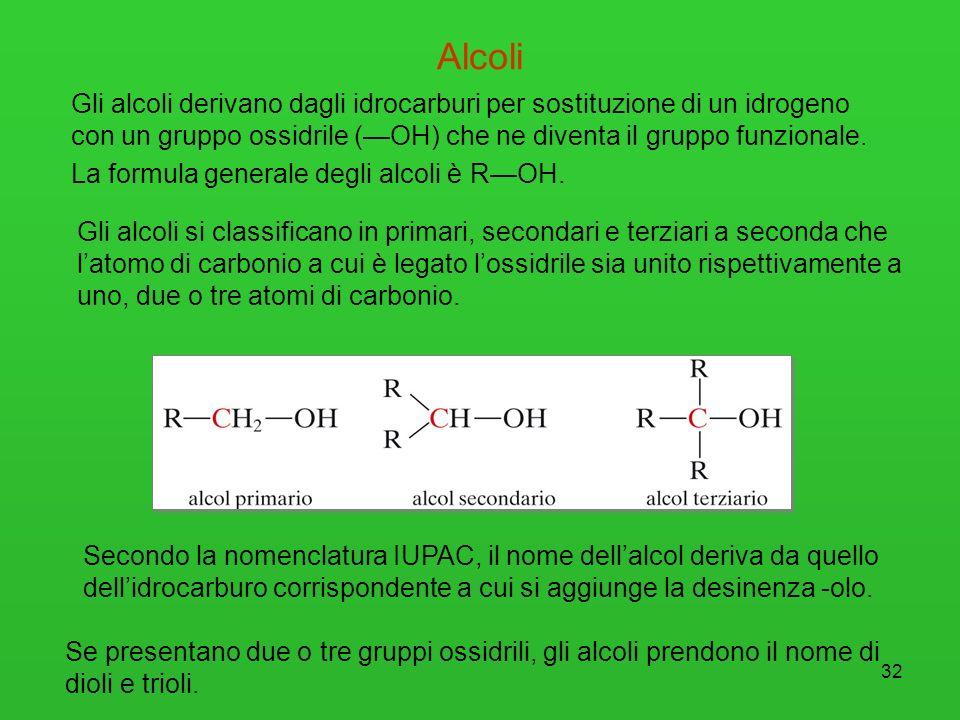 Alcoli Gli alcoli derivano dagli idrocarburi per sostituzione di un idrogeno con un gruppo ossidrile (—OH) che ne diventa il gruppo funzionale.
