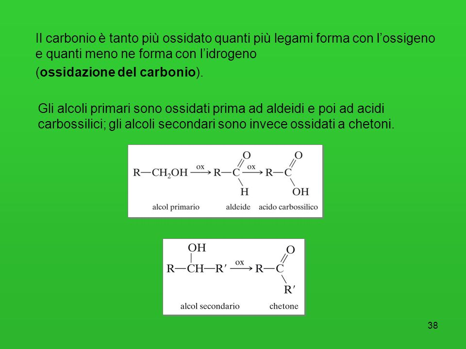 Il carbonio è tanto più ossidato quanti più legami forma con l'ossigeno e quanti meno ne forma con l'idrogeno (ossidazione del carbonio).