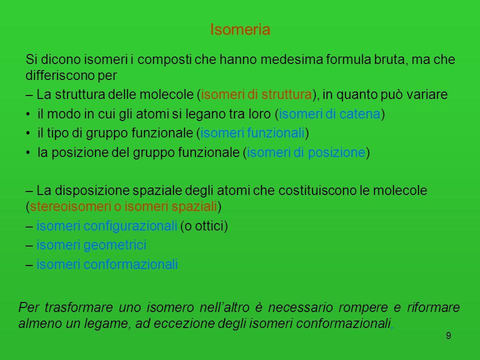 Isomeria Si dicono isomeri i composti che hanno medesima formula bruta, ma che differiscono per.