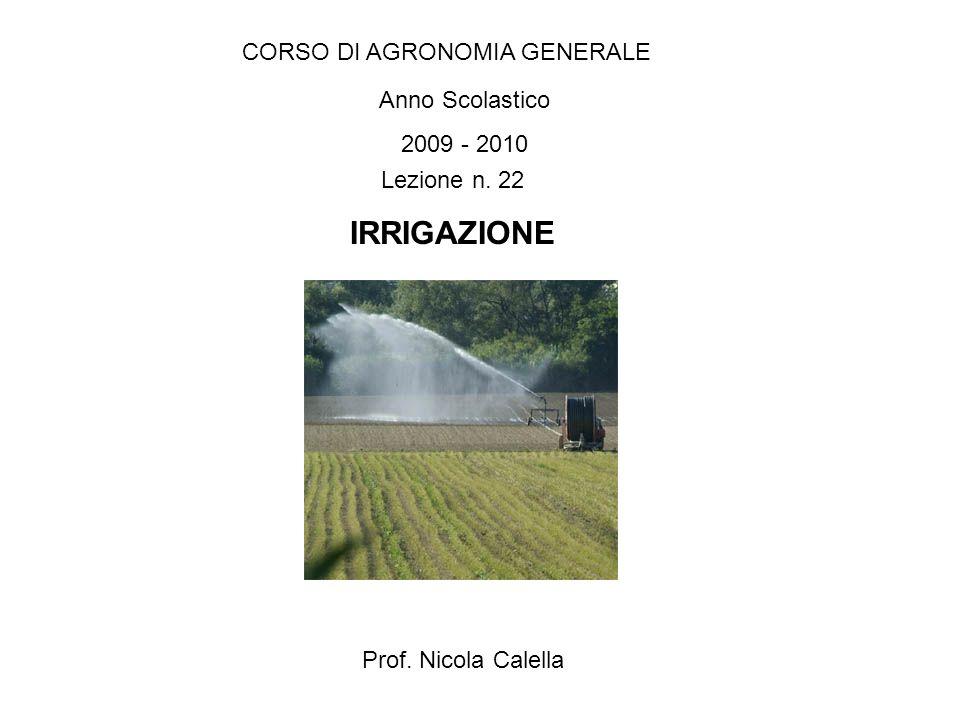 IRRIGAZIONE CORSO DI AGRONOMIA GENERALE Anno Scolastico 2009 - 2010