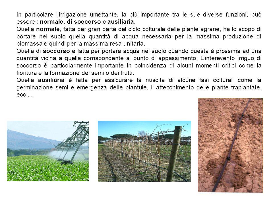 In particolare l'irrigazione umettante, la più importante tra le sue diverse funzioni, può essere : normale, di soccorso e ausiliaria.
