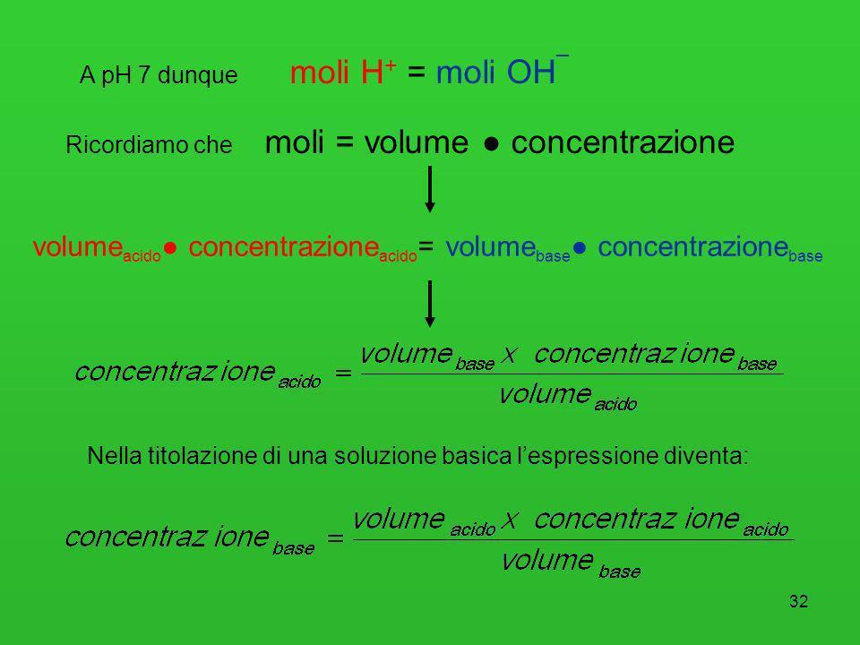 volumeacido● concentrazioneacido= volumebase● concentrazionebase