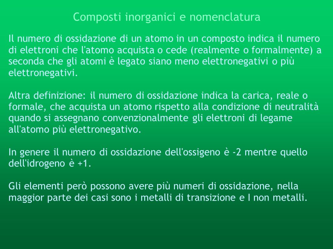 Composti inorganici e nomenclatura