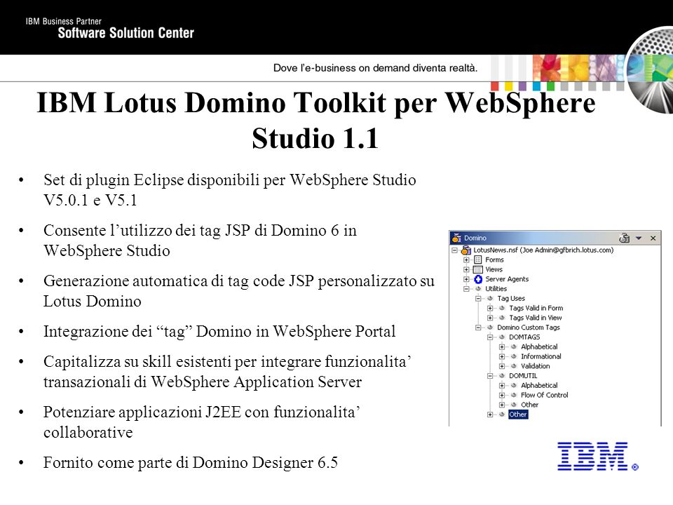 IBM Lotus Domino Toolkit per WebSphere Studio 1.1