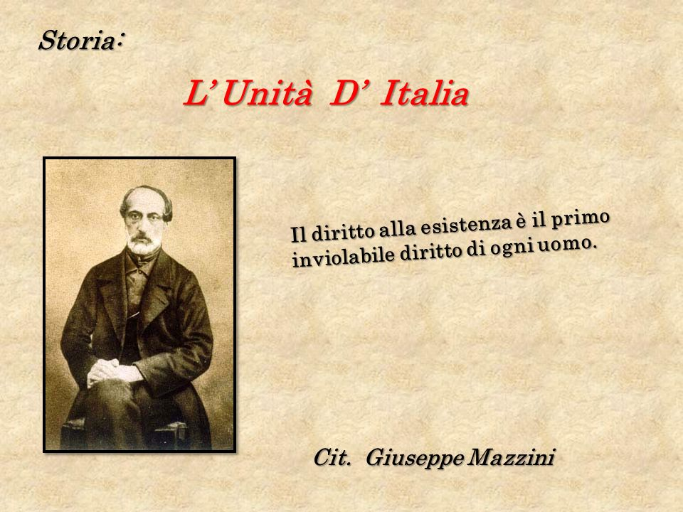 L' Unità D' Italia Storia: Cit. Giuseppe Mazzini