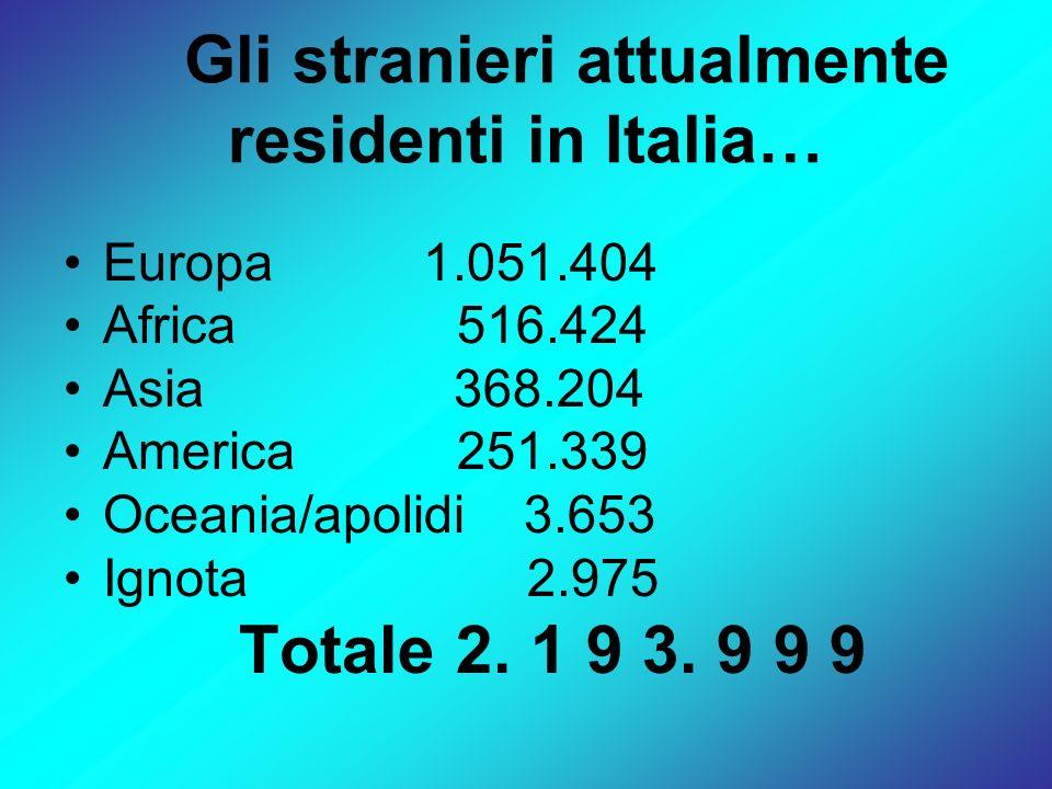 Gli stranieri attualmente residenti in Italia…