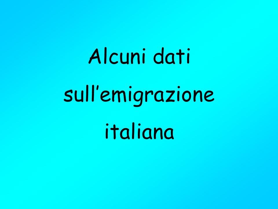 Alcuni dati sull'emigrazione italiana