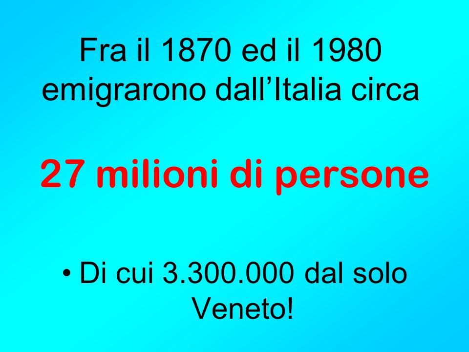 Fra il 1870 ed il 1980 emigrarono dall'Italia circa