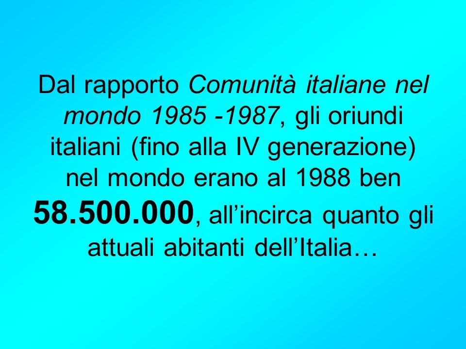 Dal rapporto Comunità italiane nel mondo 1985 -1987, gli oriundi italiani (fino alla IV generazione) nel mondo erano al 1988 ben 58.500.000, all'incirca quanto gli attuali abitanti dell'Italia…