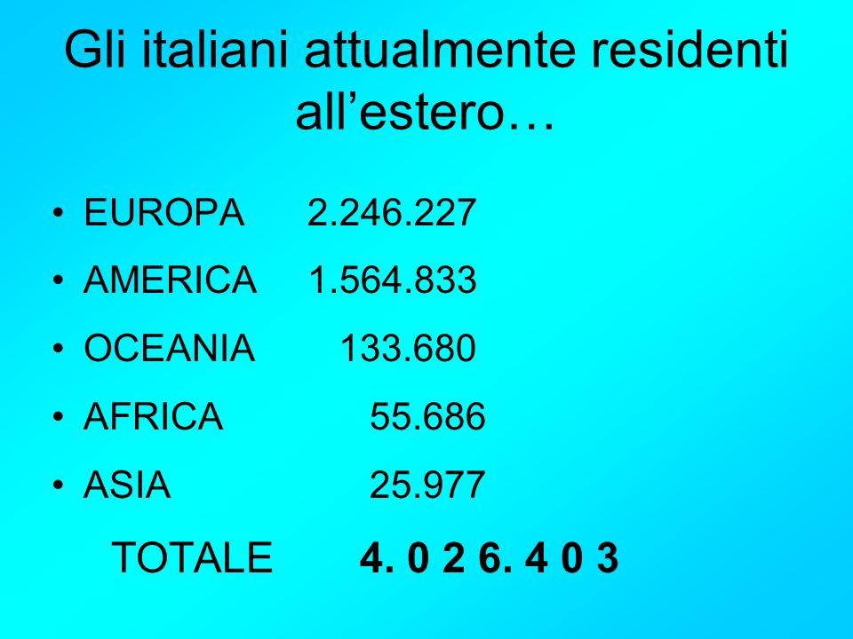 Gli italiani attualmente residenti all'estero…