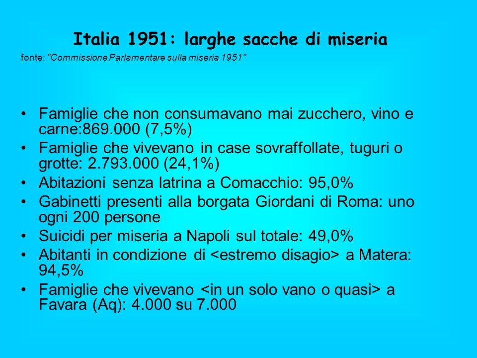 Italia 1951: larghe sacche di miseria