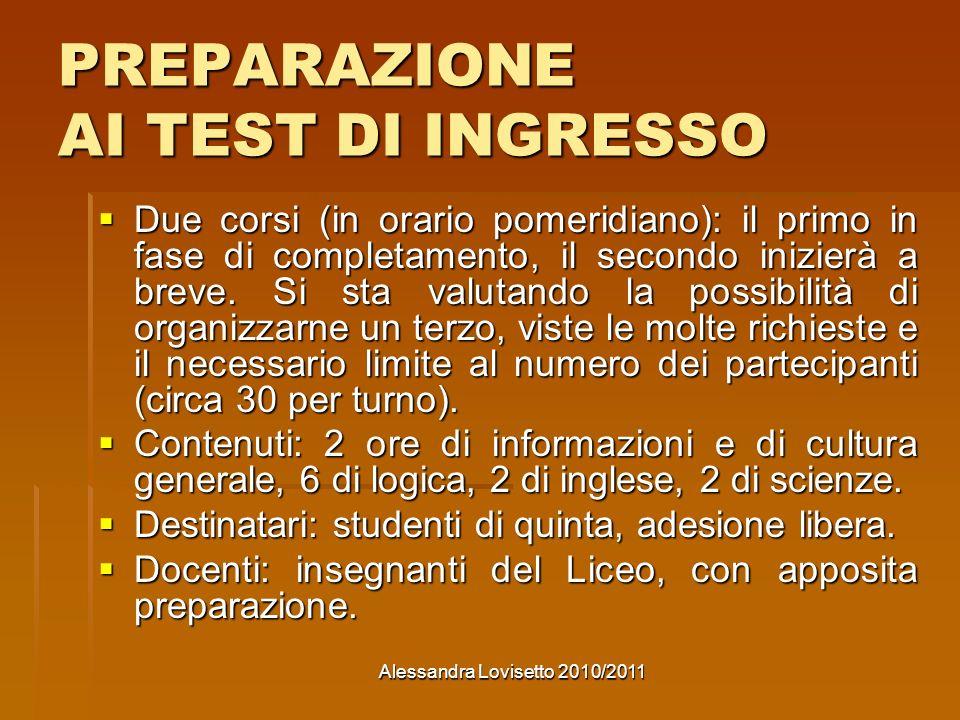 PREPARAZIONE AI TEST DI INGRESSO