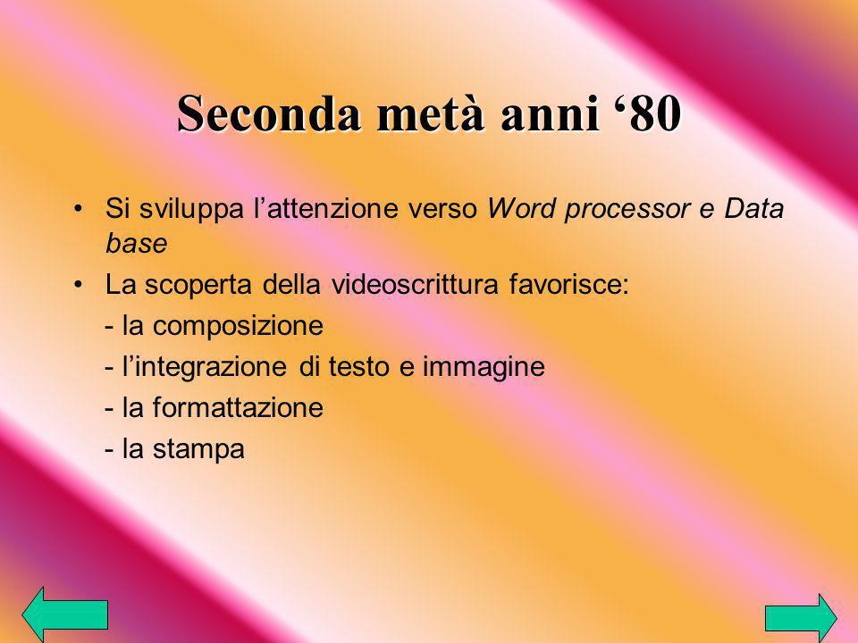 Seconda metà anni '80 Si sviluppa l'attenzione verso Word processor e Data base. La scoperta della videoscrittura favorisce:
