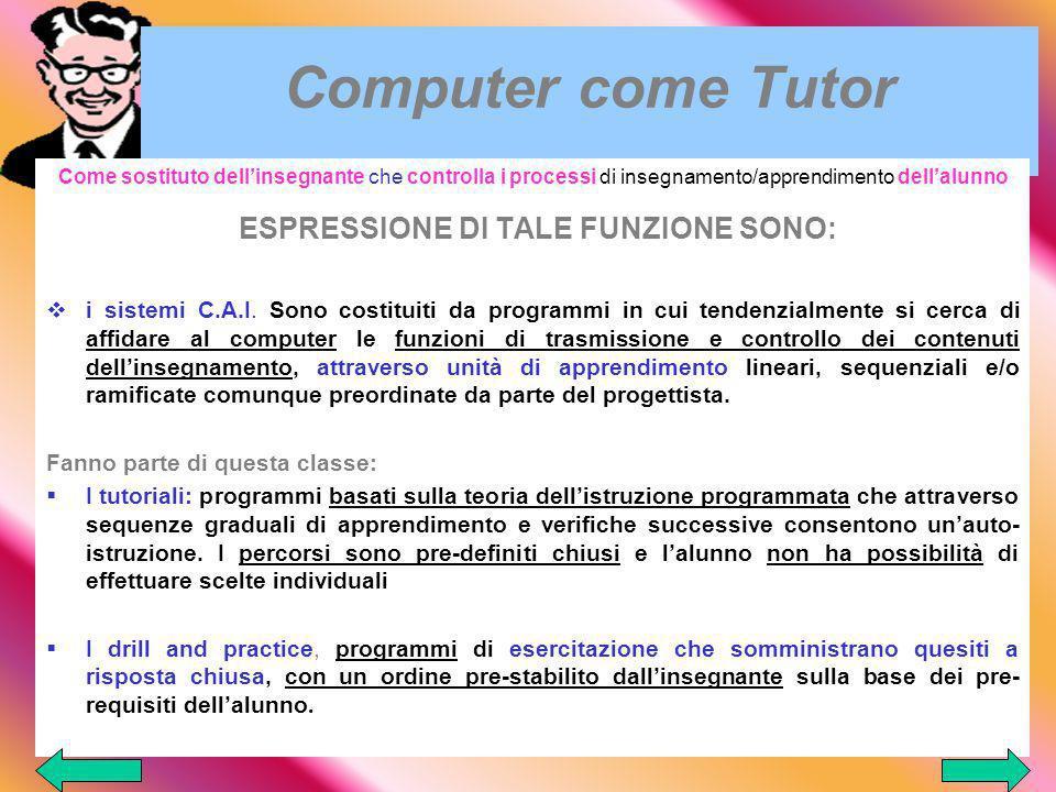 ESPRESSIONE DI TALE FUNZIONE SONO: