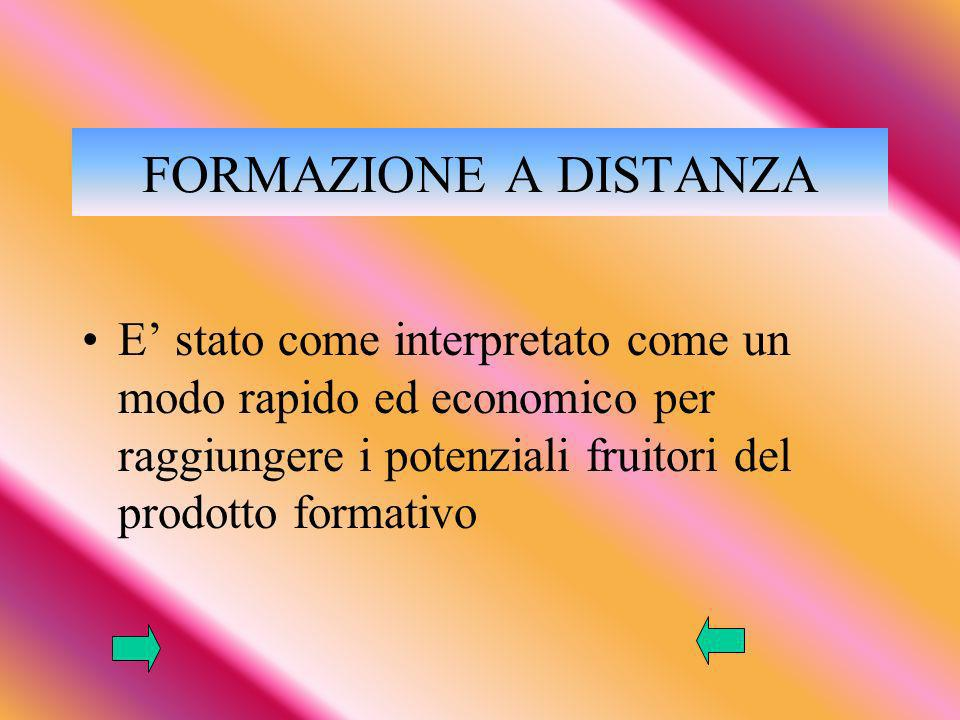 FORMAZIONE A DISTANZA E' stato come interpretato come un modo rapido ed economico per raggiungere i potenziali fruitori del prodotto formativo.