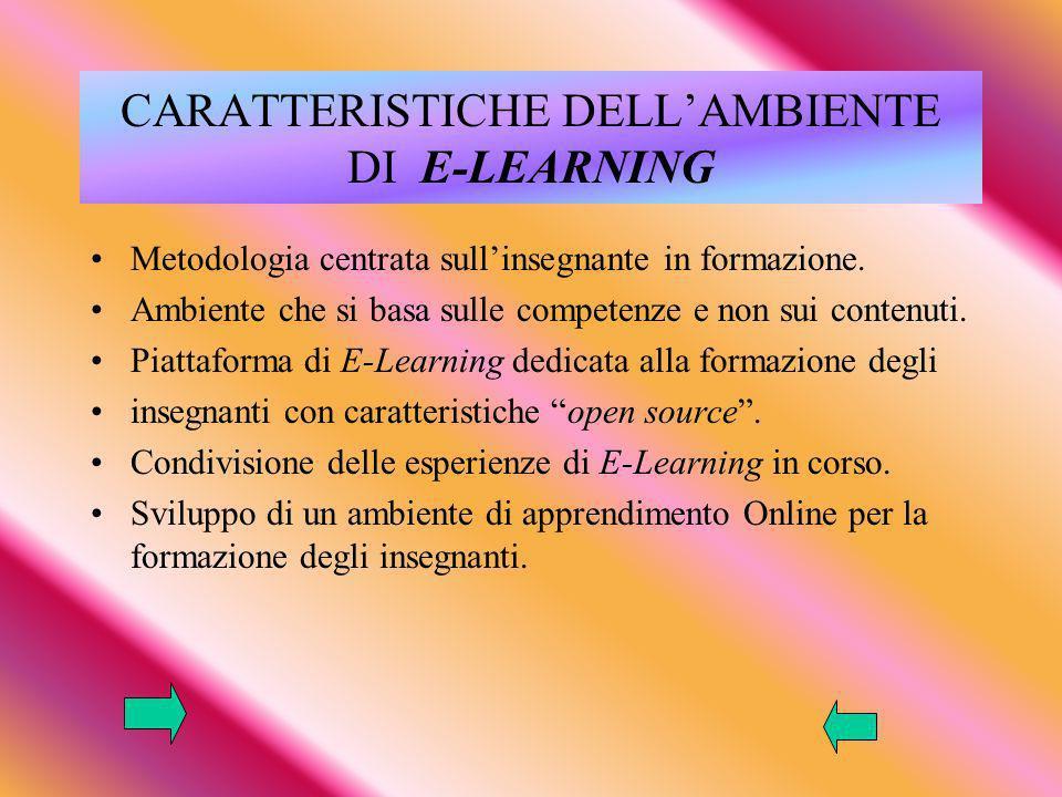 CARATTERISTICHE DELL'AMBIENTE DI E-LEARNING