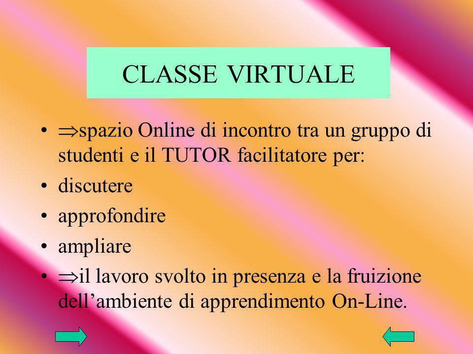 CLASSE VIRTUALE spazio Online di incontro tra un gruppo di studenti e il TUTOR facilitatore per: discutere.