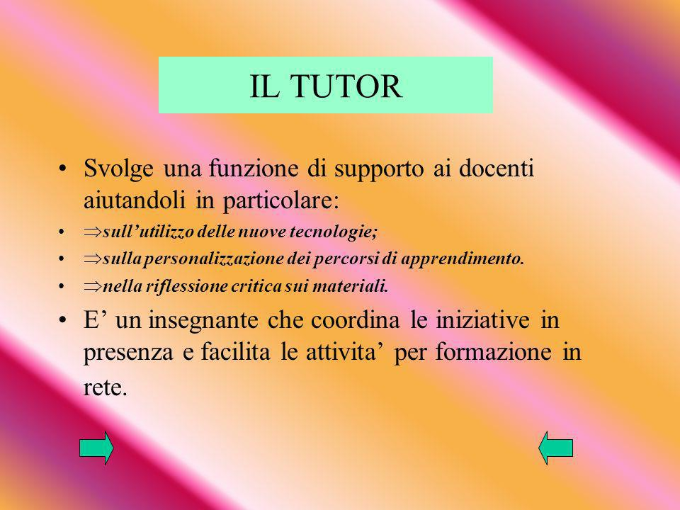 IL TUTOR Svolge una funzione di supporto ai docenti aiutandoli in particolare: sull'utilizzo delle nuove tecnologie;
