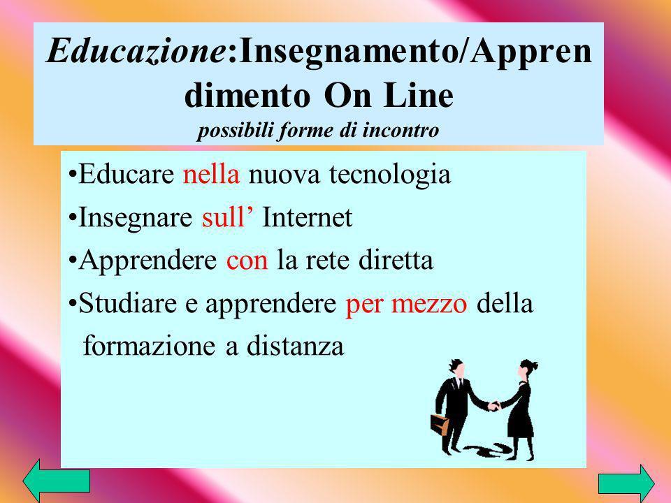 Educazione:Insegnamento/Apprendimento On Line possibili forme di incontro